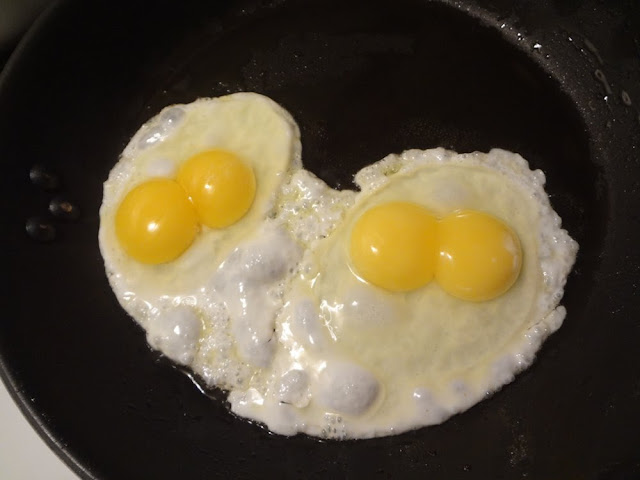 2 eggs, double yolks