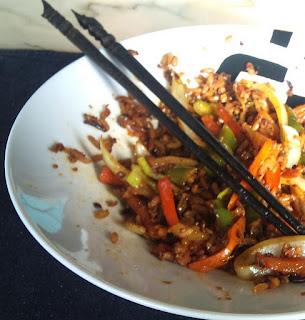 arroz con soja texturizada y verduras