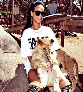 De pernas de fora, Rihanna posa com animais na África.