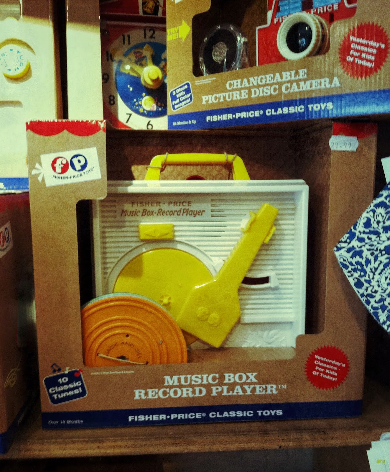 Fisher-Price Classic Music Box Record Player in packaging on Space shop shelf