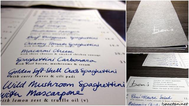 Ben's KLCC restaurant menu