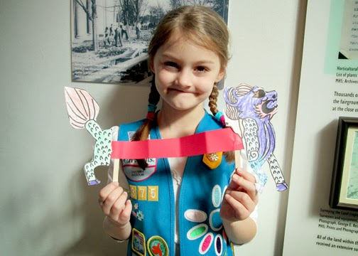 Tessa also crafted a paper Chinese dragon while earning her Vi petal at the Missouri History Museum.