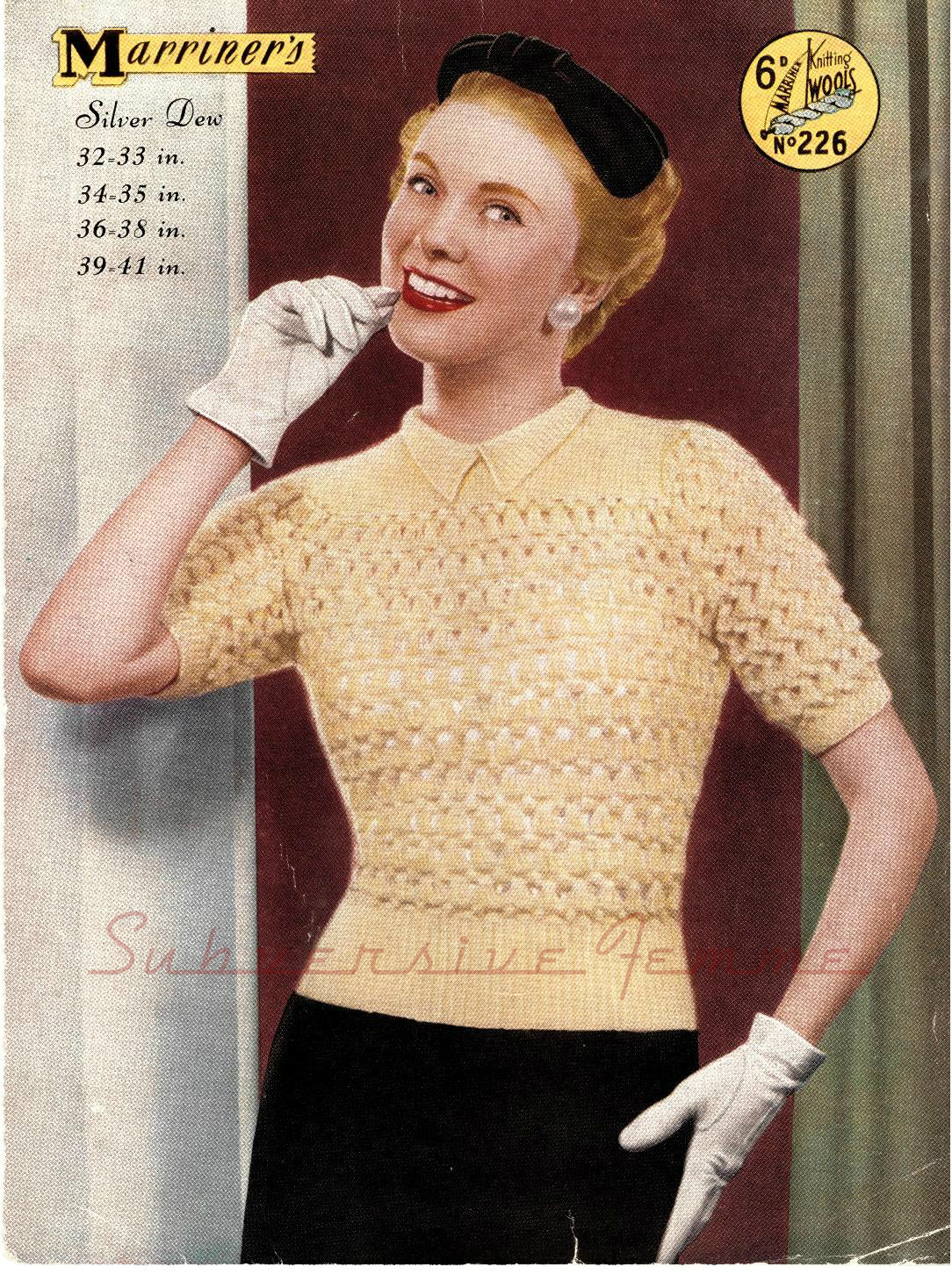 Free Vintage Knitting Patterns 1950s : The Vintage Pattern Files: 1950s Knitting - Silver Dew Sweater