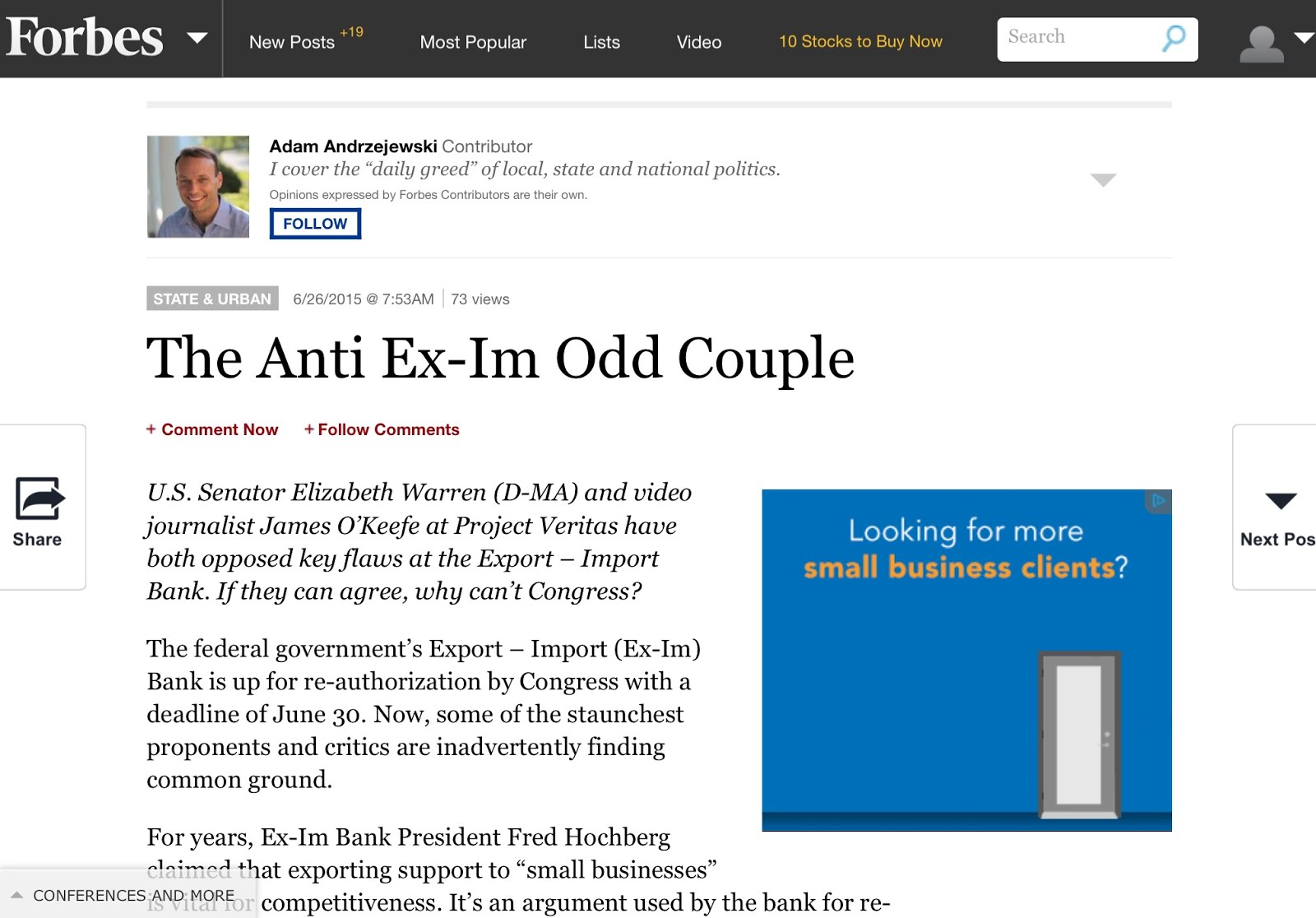 "June 26, 2015: ""The Anti Ex-Im Odd Couple"" / By  Adam Andrzejewski"