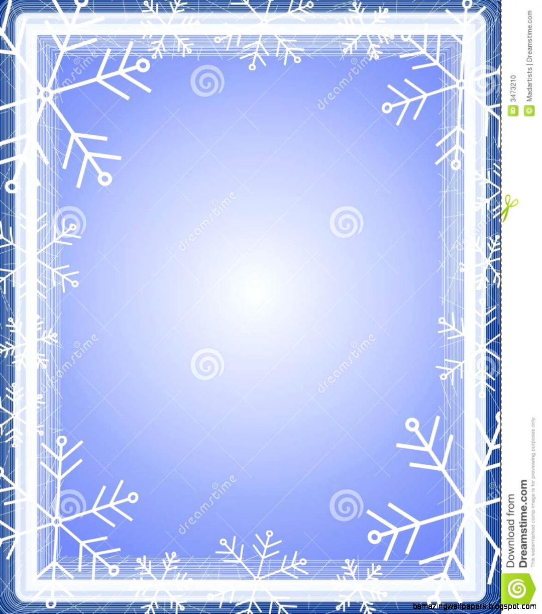 Snowflake Border Frame Blue Stock Photo   Image 3473210