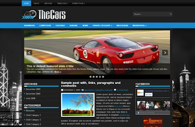 Dark Black Blue Cars Wordpress Theme Template