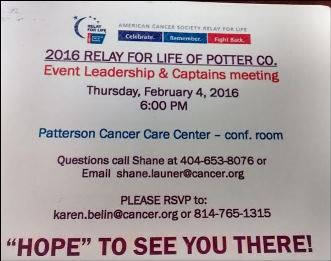 2-4 Relay For Life Of Potter County