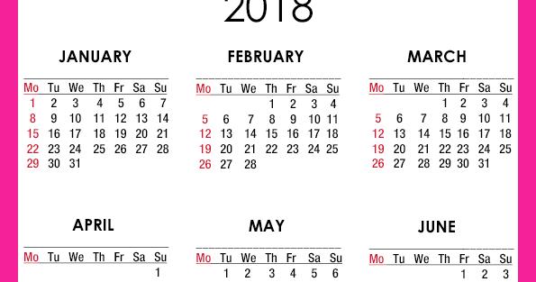 ... York, NY: 2018 Calendar Printable - A4 Paper Size - Free - Pink, White