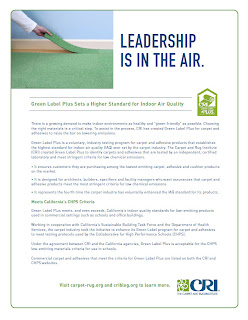 CRI's Green Label Plus for Indoor Air Quality Fact Sheet