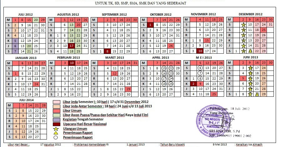 Kalender Pendidikan Tahun Pelajaran 2012 2013 Sd Negeri 1 Beji