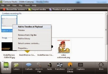 add video to timeline. playhead camtasia studio