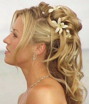 Combining the Half Hair Down/Half Up Wedding Hairstyle