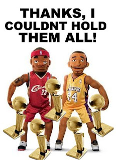 Kobe and Lebron Puppets Kobe Couldn't Hold All His Championship Trophies