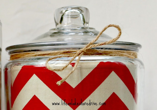 DIY Easy Chevron Lined Glass Cannister Makeover with Twine Trim   Life on Lakeshore Drive