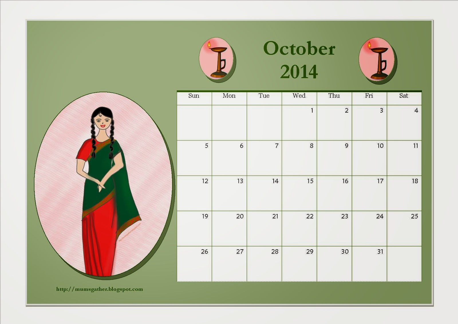 October 2014 Calendar For Kids
