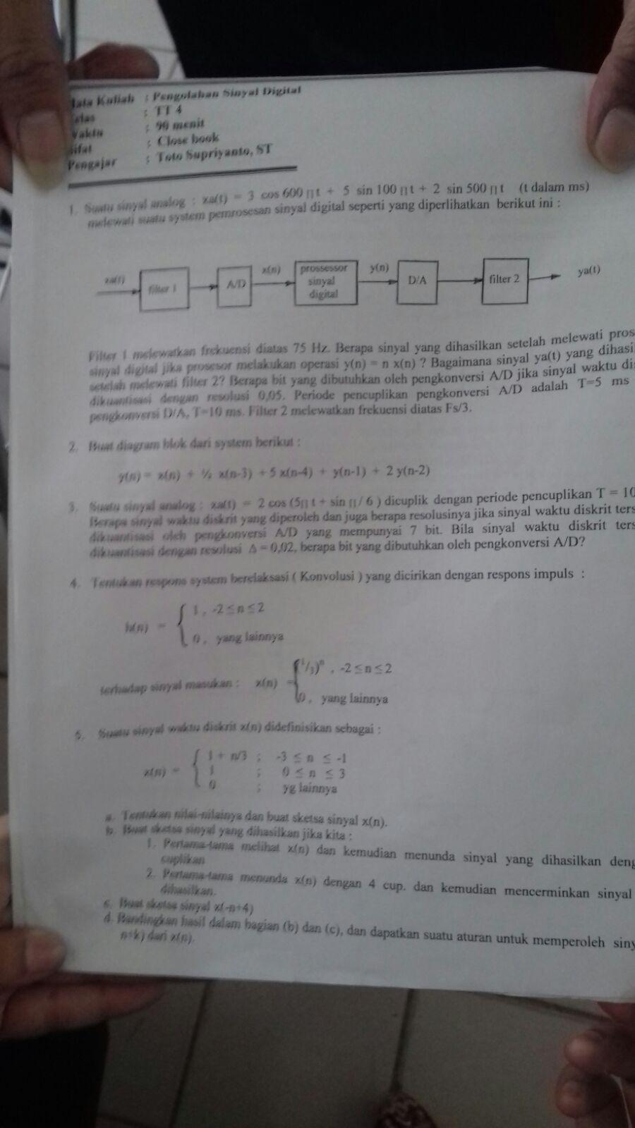 Soal Uts Pengolahan Sinyal Digital Semester 3 Dokumen 471
