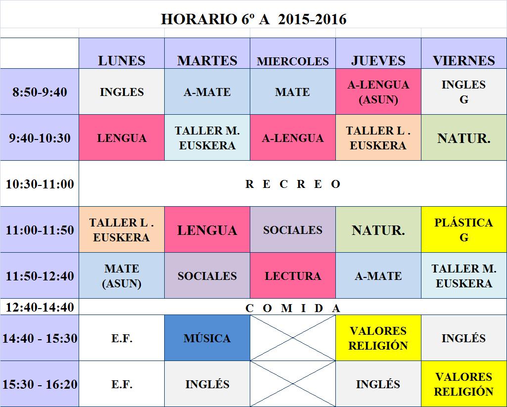 HORARIO 2015-16 6º B