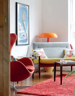 An Irish Crannac sofa and a Jacobsen Egg chair in Geoff Kirk's living room. Photo by Mark Scott
