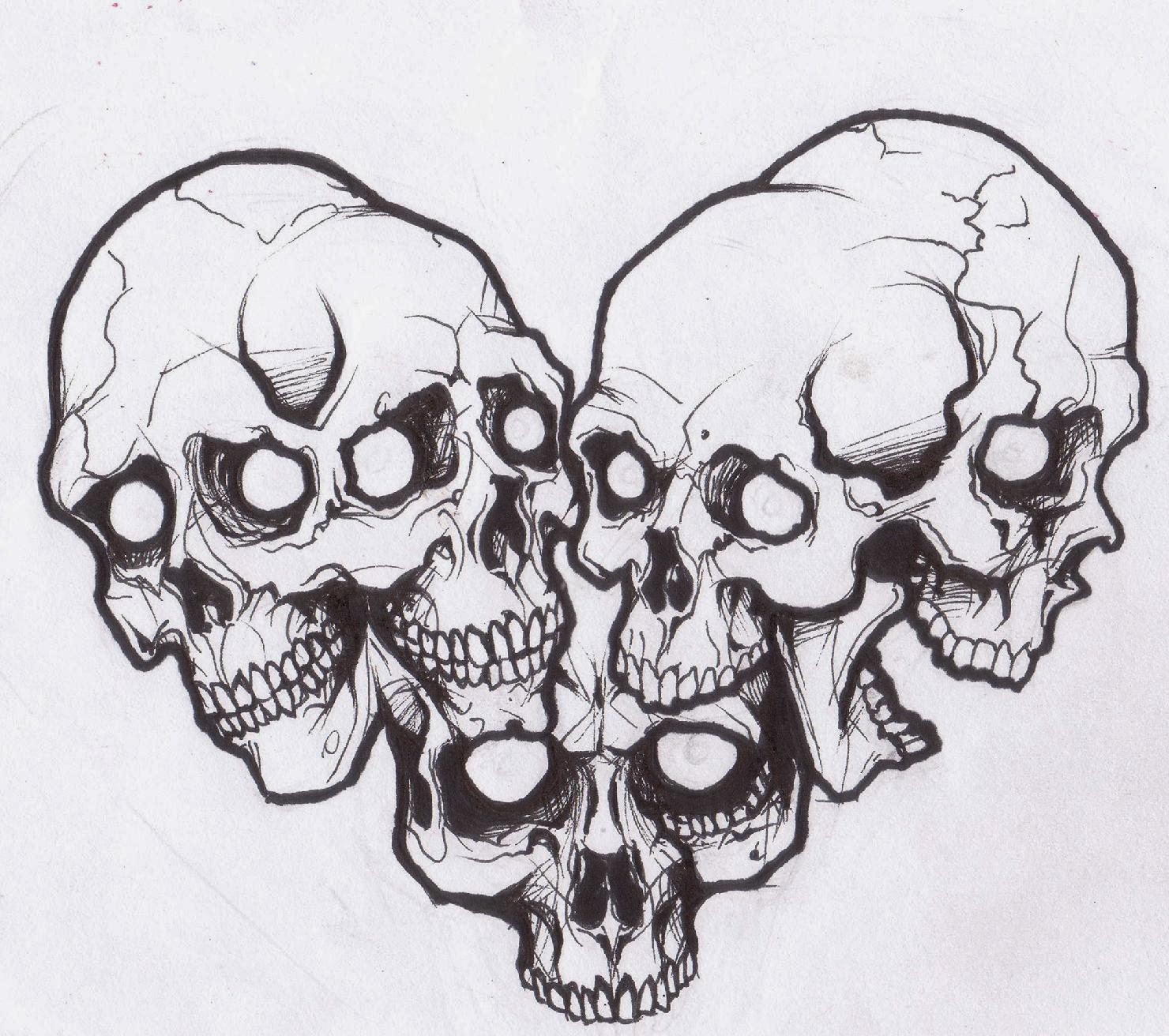 Skulls compilation tattoo stencil