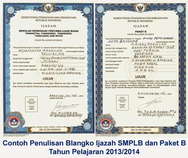 Contoh blangko ijazah SMPLB dan Paket B Tahun 2014