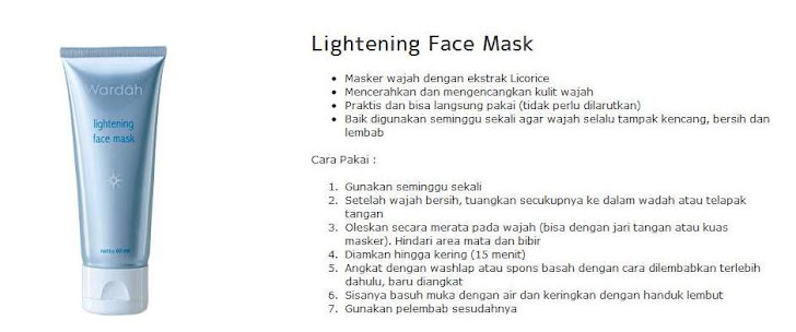 Lightening Face Mask - $8