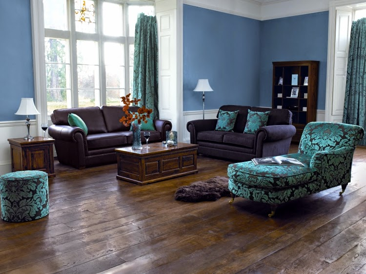 Trendy living room paint colors and color combinations in 2015 - Blue brown grey living room ...