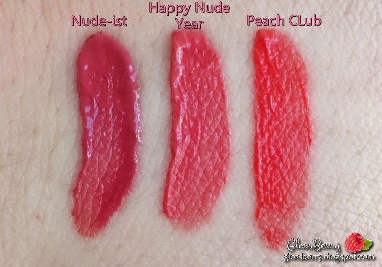 בלוג איפור וטיפוח גלוסברי Bourjois Happy Nude year שפתון מאט קורלי נוזלי ורוד ניוד בורז'ואה בורג'ואה vs peach club 04 nude-ist 07 bourjois rouge edition velvet happy nude year review swatches lips coral pink comparisons matte beauty blog