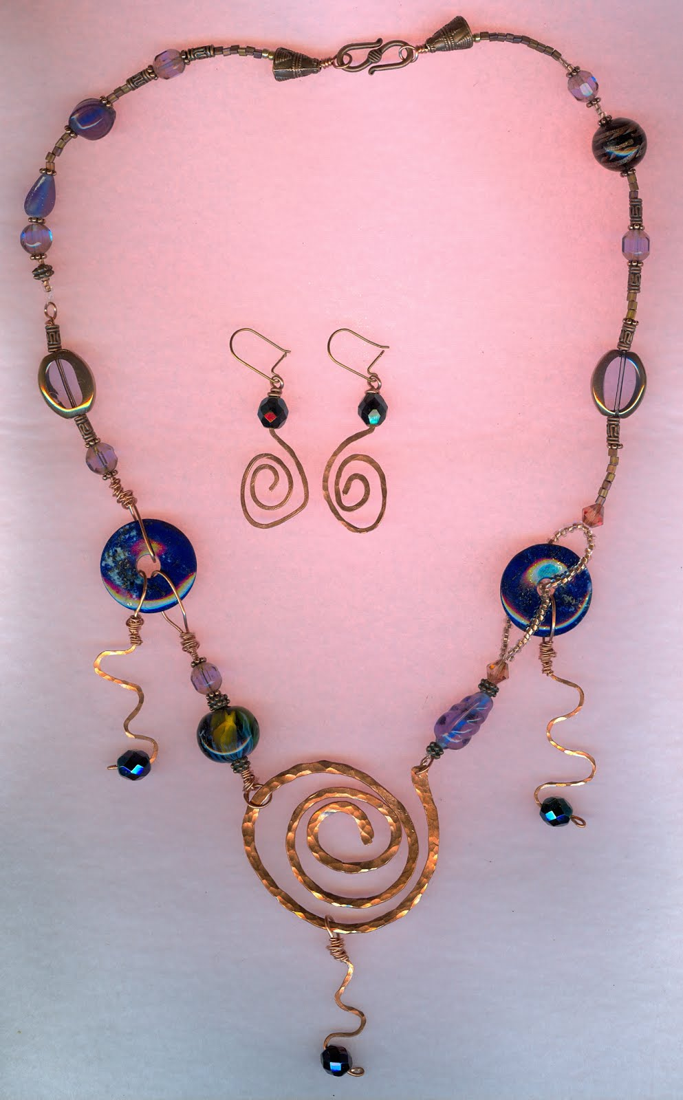 copper lapis crystal necklace with earrings