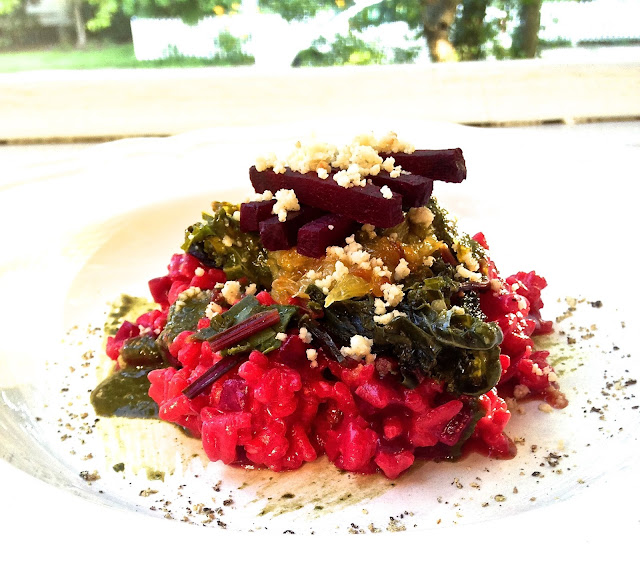 beetroot risotto with pesto, orange, and beetgreens (gf)