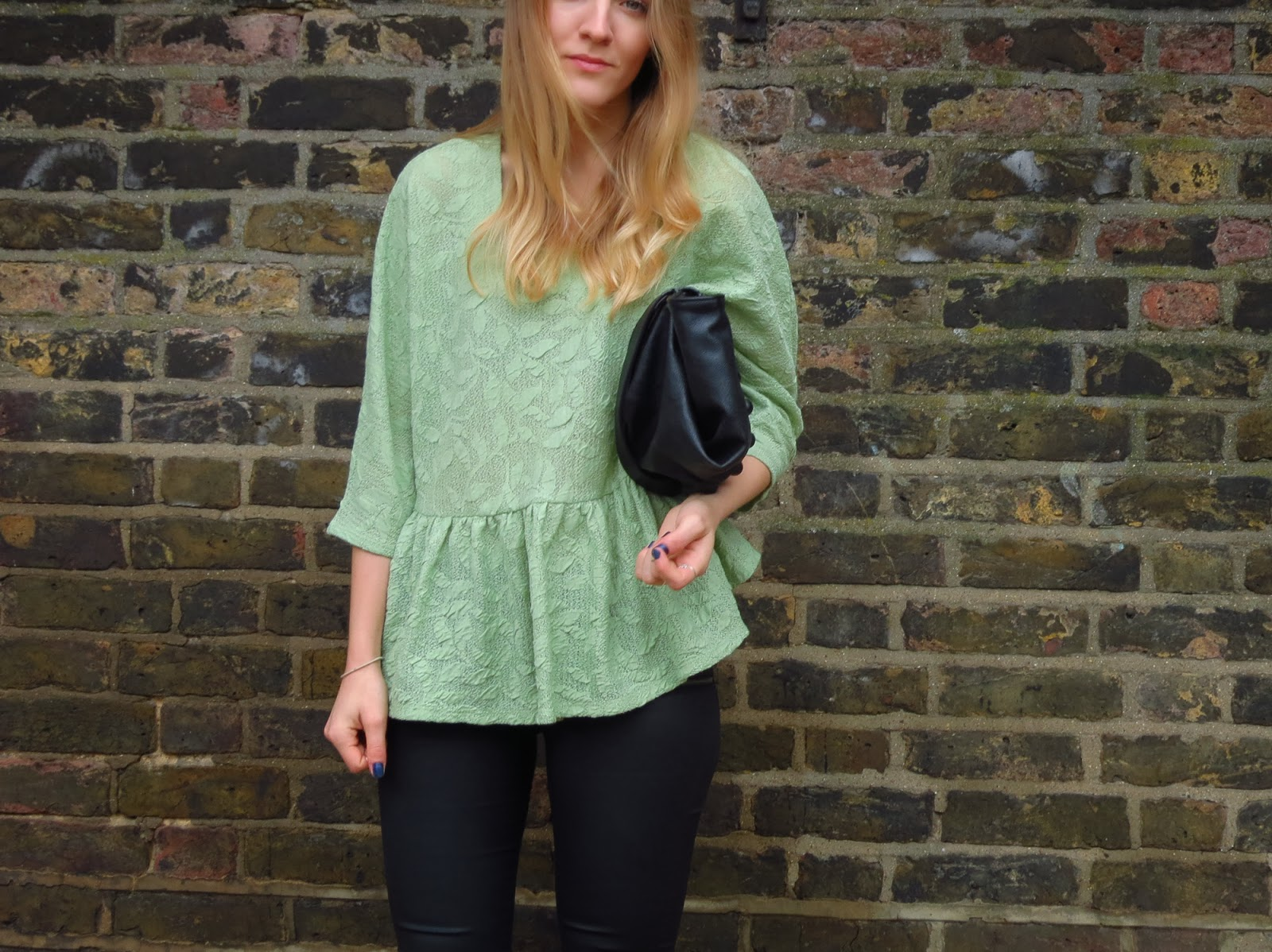 oversized green top with peplum waist