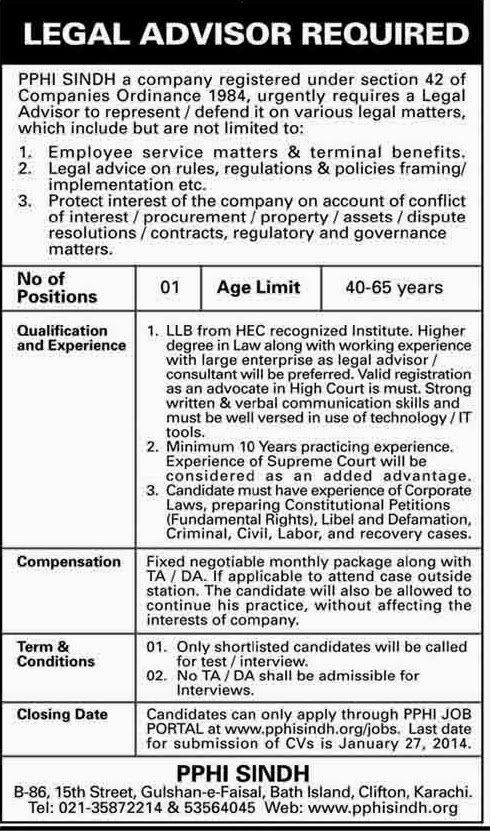 Required Legal Advisor in PPHI Karachi, Sindh