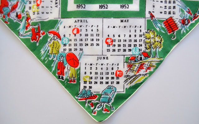 1952 Hankie, detail of April through June