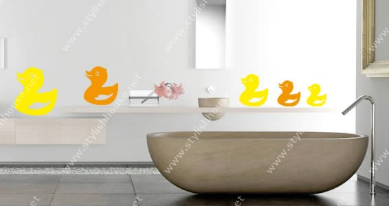 Stylish ducks drawings wall stickers drawings for bathroom decorating