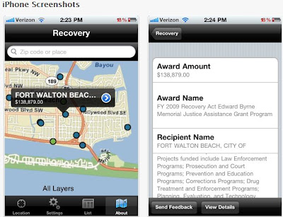 Recovery.gov app for iPhone