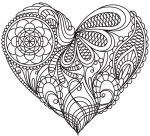 Coloring Page World Mendhi Heart