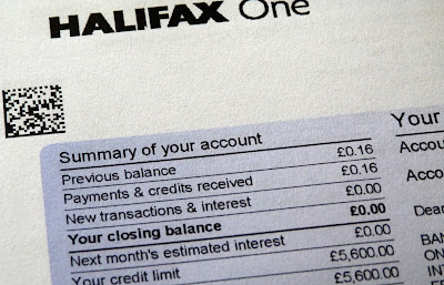 Credit card bill with zero balance