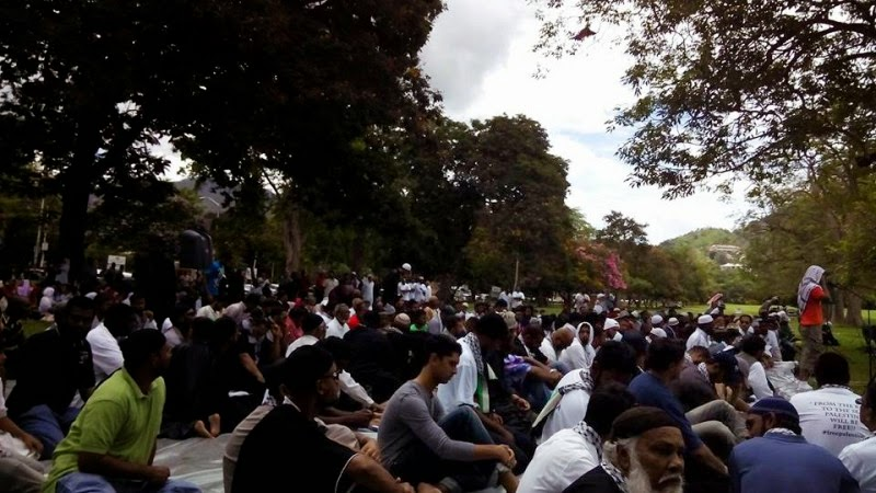 Trinidad and Tobago Muslims gather in the Queen's Park Savannah on 1 August, 2014  in support of the people of Gaza. Photo posted on Trinidad and Tobago Muslims Facebook page.