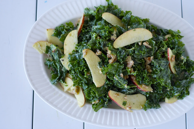 Raw Kale Salad with Creamy Avocado Dressing