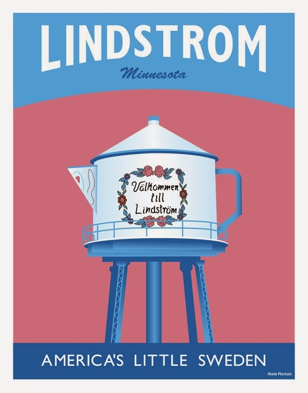 Lindstrom Minnesota Coffeepot Water Tower - MN Roadside Attraction Travel Poster