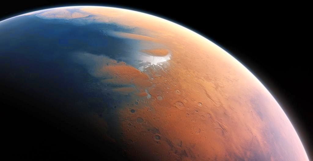 This artist's impression shows how Mars may have looked about four billion years ago. The young planet Mars would have had enough water to cover its entire surface in a liquid layer about 140 metres deep, but it is more likely that the liquid would have pooled to form an ocean occupying almost half of Mars's northern hemisphere, and in some regions reaching depths greater than 1.6 kilometres. Credit: ESO/M. Kornmesser