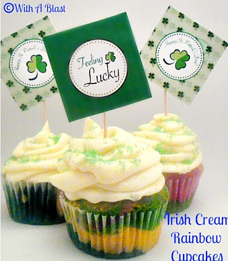 Irish Cream Rainbow Cupcakes for St Patrick's Day www.withablast.net