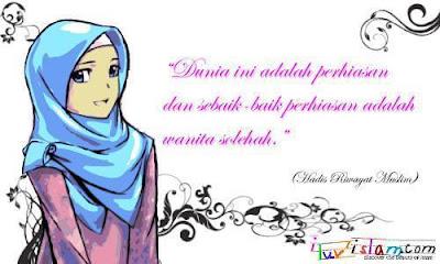Kata-Kata Bijak Islami - Wanita Sholehah adalah Perhiasan Sejati