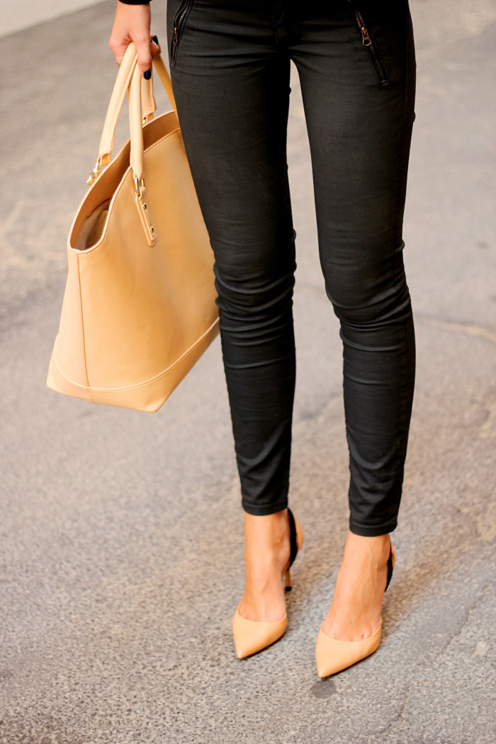 black waxed jeans, zara nude bag shoes