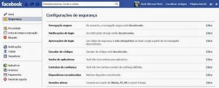 facebook-configurações-segurança