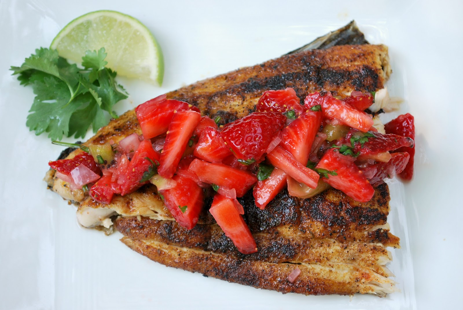 Cheese please strawberry salsa fresca with blackened for Healthy fish recipes