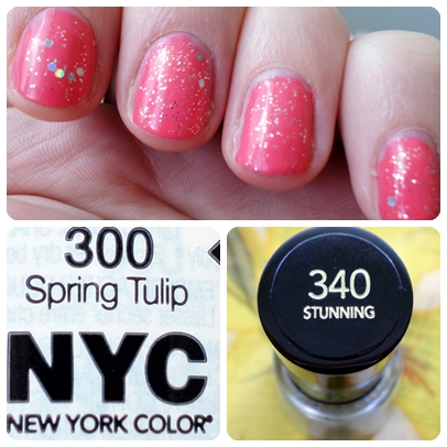 NYC Nail Polish in 300 Spring Tulip & Revlon Nail Enamel in 340 Stunning