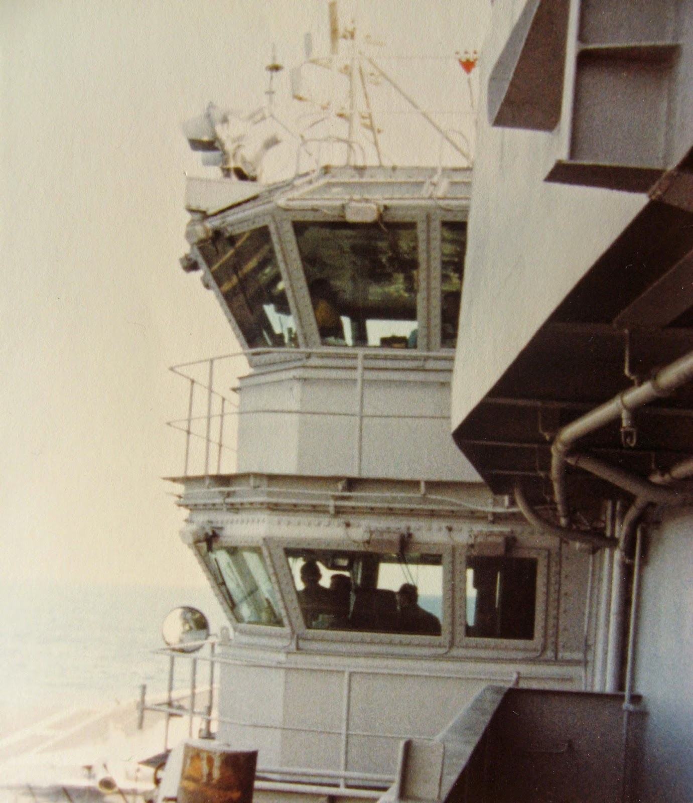 I snapped one of the Top 2 levels of the Island on The USS NIMITZ where the captain & Air Boss ran the show January 1983