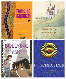 Capas de quatros livros que serão lançados no 15º Salão FNLIJ do Livro