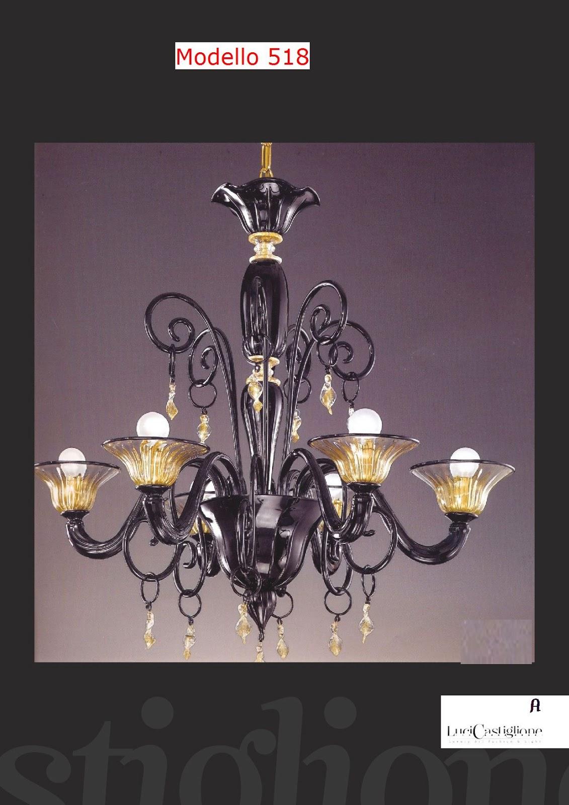 ... fabbrica lampadari: 518 Lampadario in vetro soffiato di Murano