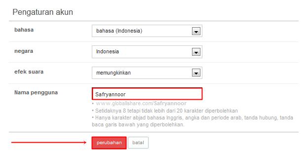 Mengatur Username GlobAllShare